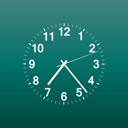 Clock icon vector illustration. Office clock on green background.
