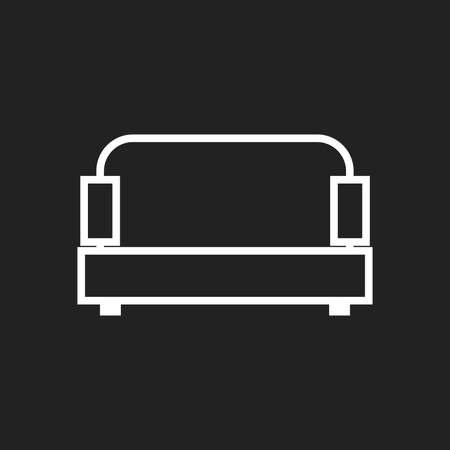 modern living room: Sofa vector illustration isolated on black background. Sofa icon vector illustration.