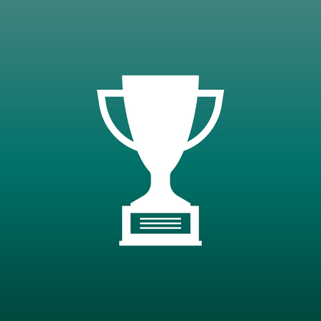Trophy cup flat vector icon. Simple winner symbol. White illustration on green background.