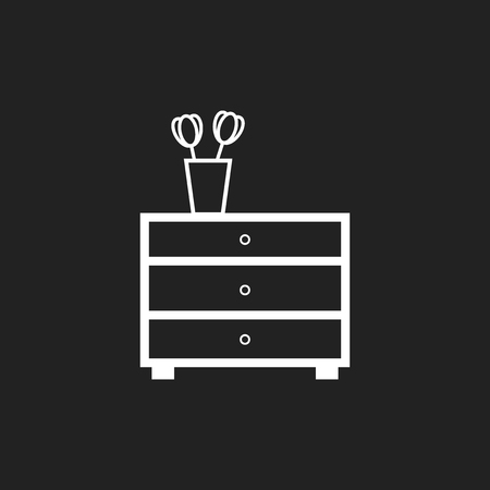 interior decoration: Cupboard furniture icon. Furniture vector illustration on black background.