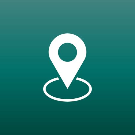 Pin icon vector. Location sign in flat style isolated on green background. Navigation map, gps concept.