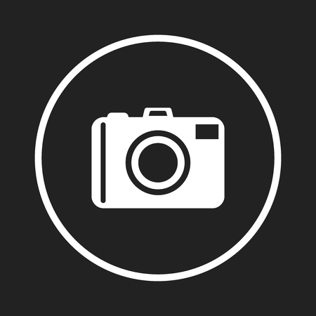 Camera icon logo on black background. Flat vector illustration. Illustration