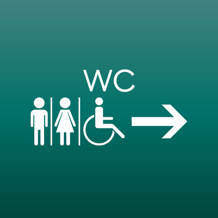WC, toilet flat vector icon. Men and women sign for restroom on green background. Illustration