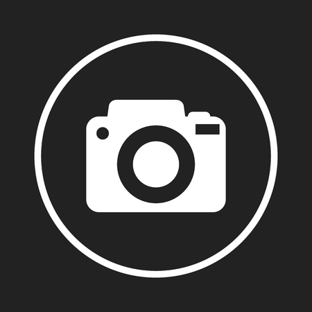 Camera icon logo on black background. Flat vector illustration. Illustration