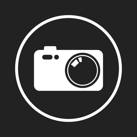 Camera icon on black background. Flat vector illustration. Çizim