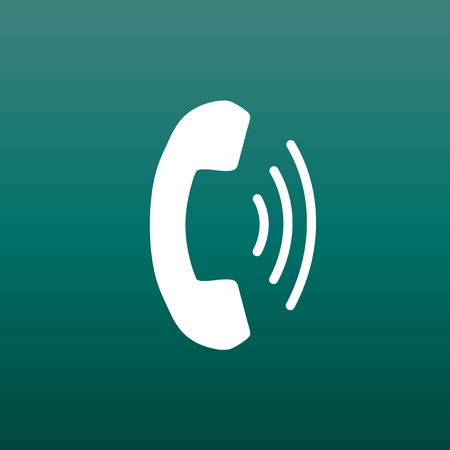 old phone: Phone icon vector, contact, support service sign on green background. Telephone, communication icon in flat style.