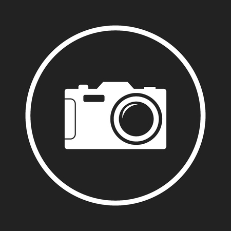 Camera icon on black background. Flat vector illustration. Ilustracja