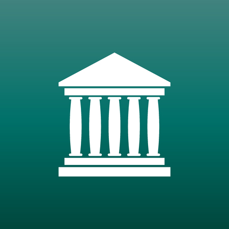 Bank building icon in flat style. Museum vector illustration on green background.