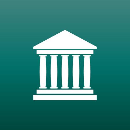 Bankgebäudeikone in der flachen Art. Museumsvektorillustration auf grünem Hintergrund. Standard-Bild - 76552857