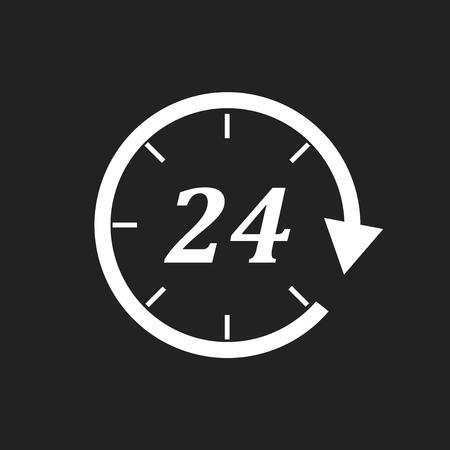 Tijdpictogram. Platte vectorillustratie 24 uur op zwarte achtergrond.