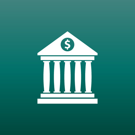 Bank building icon with dollar sign in flat style. Museum vector illustration on green background.