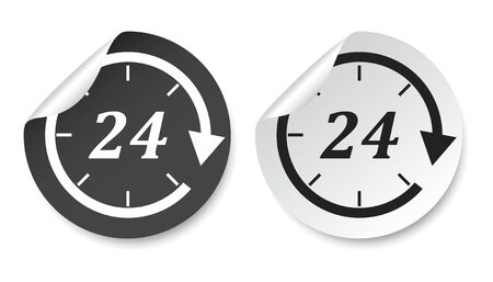 refreshed: Time sticker icon. Flat vector illustration 24 hours on isolated background.