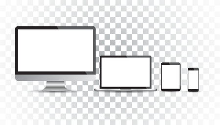 Realistic device flat Icons: smartphone, tablet, laptop and desktop computer. Vector illustration on isolated background.