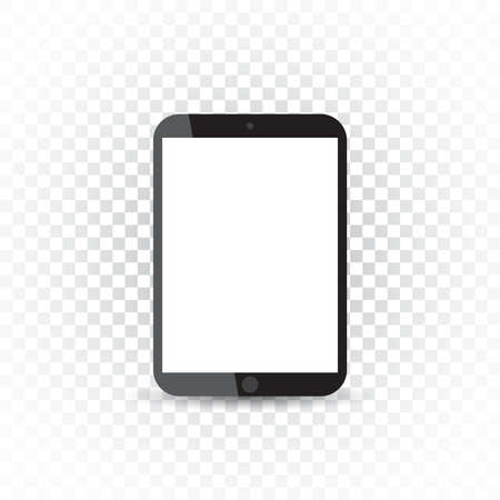 touchpad: Tablet with white screen flat icon. Computer vector illustration on isolated background.