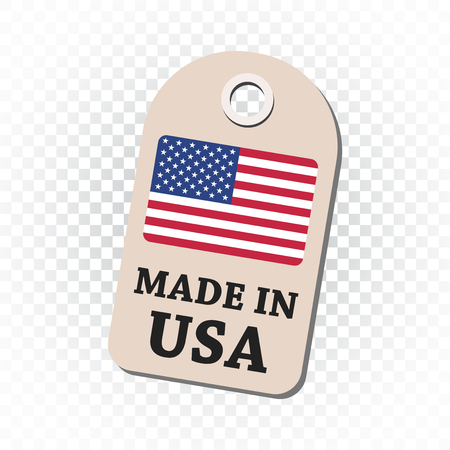 Hang tag made in USA with flag. Vector illustration on isolated background.