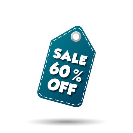 Verkoop 60% korting. Etiket vector illustratie op een witte achtergrond Stock Illustratie