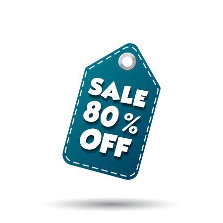 Sale 80% off tag. Label vector illustration on white background Illustration