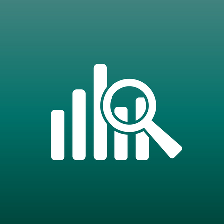 Business graph icon. Chart flat vector illustration on green background. Stock Illustratie