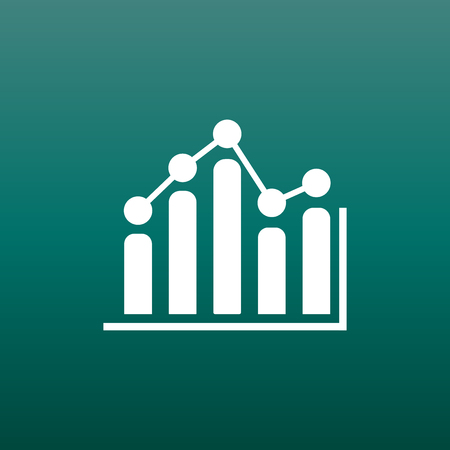 Business graph icon. Chart flat vector illustration on green background. Ilustracja