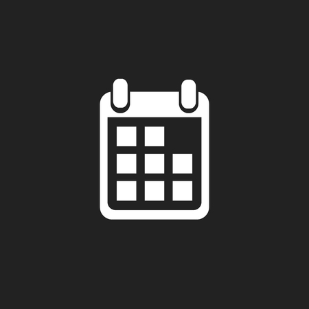 Calendar icon on black background, vector illustration. Flat style. Icons for design, website.