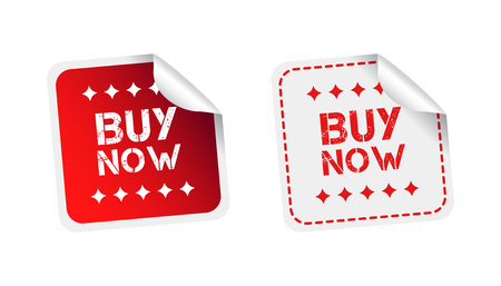 Buy now stickers. Vector illustration on white background.
