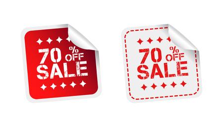discount banner: Sale stickers 70% percent off illustration. Illustration