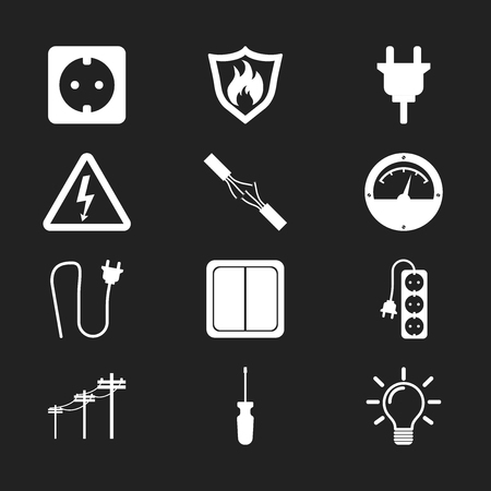 Electricity icon. Vector illustration in flat style on black background