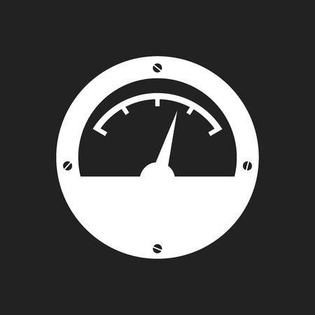 Electric meter icon. Power meter flat vector illustration on black background.
