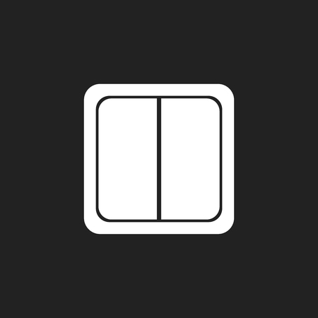 Electric light switch icon. Electric switch flat vector illustration on black background.
