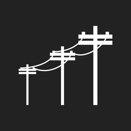 High voltage power lines. Electric pole vector icon on black background.