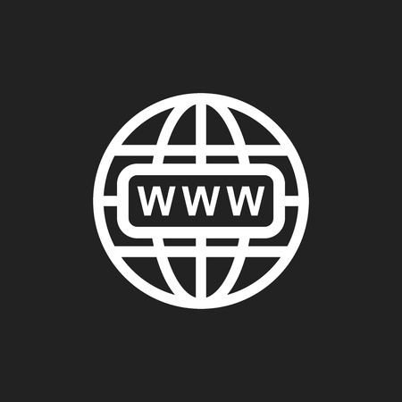 webhost: Go to web icon. Internet flat vector illustration for website on black background. Illustration