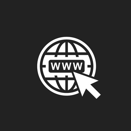 Go to web icon. Internet flat vector illustration for website on black background. 일러스트