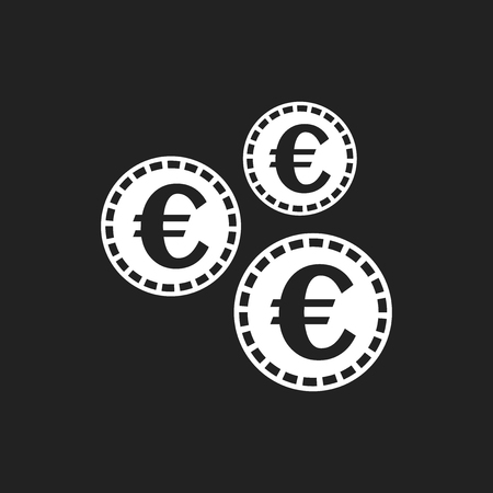 Euro coins icon. Vector illustration in flat style. Coin on black background.