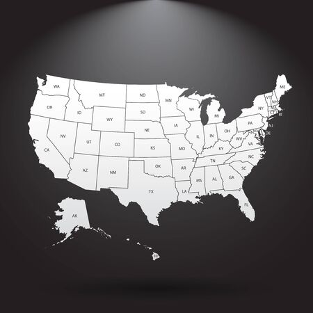 연방 상태와 높은 상세한 미국지도입니다. 벡터 일러스트 레이 션 미국 미국의 검정색 배경입니다.