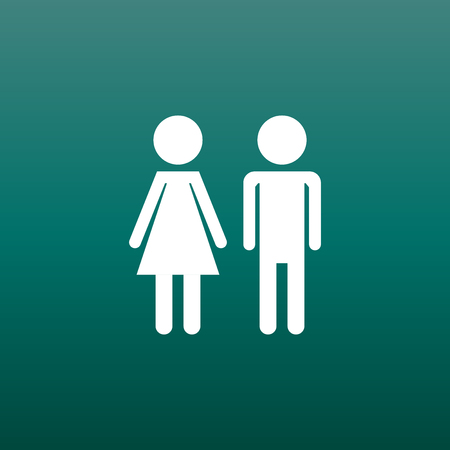 Vector man and woman icon on green background. Modern flat pictogram. Simple flat symbol for web site design. Çizim