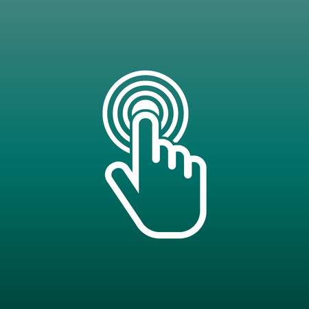 Click here icon. Hand cursor signs. White button flat vector illustration.