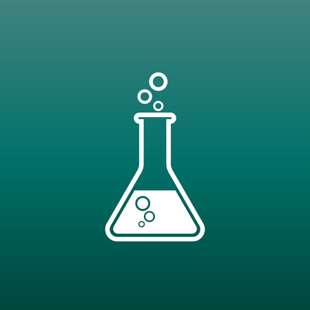 laboratory equipment: Chemical test tube pictogram icon. Chemical lab equipment isolated on green background. Experiment flasks for science experiment. Trendy modern vector symbol. Simple flat illustration