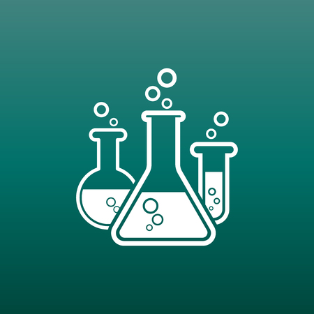 Chemical test tube pictogram icon. Laboratory glassware or beaker equipment isolated on green background. Experiment flasks. Trendy modern vector symbol.