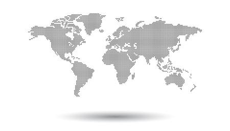 Mappa del mondo nero punteggiato su sfondo bianco. Modello vettoriale mappa del mondo per il sito web, infographics, design. Illustrazione di pianeta terra mondo