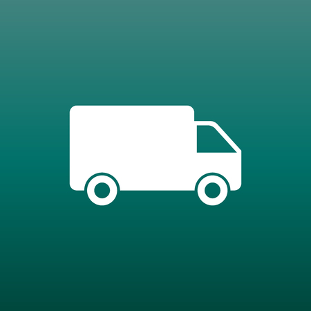 mobile website: Truck, car vector illustration. Fast delivery service shipping icon. Simple flat pictogram for business, marketing or mobile app internet concept
