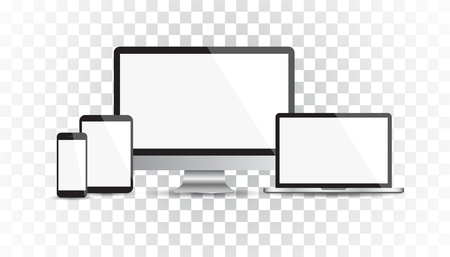 smart: Realistic device flat Icons: smartphone, tablet, laptop and desktop computer. Vector illustration on isolated background