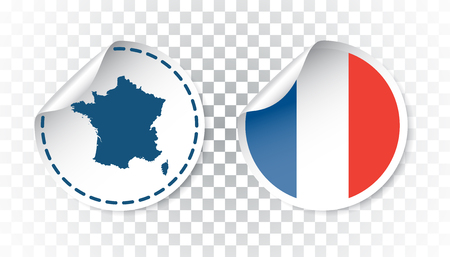 France sticker with flag and map. Label, round tag with country. Vector illustration on isolated background.