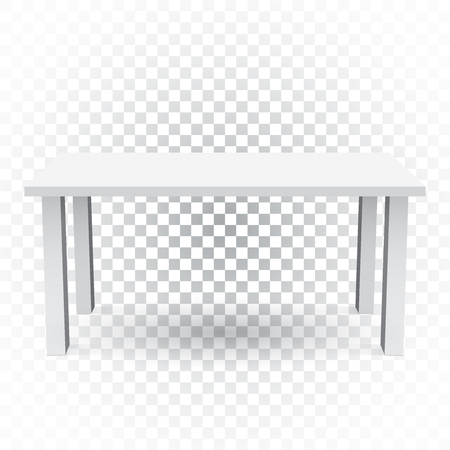 interior decoration: Vector 3d table for object presentation. Empty white top table on isolated background. Illustration