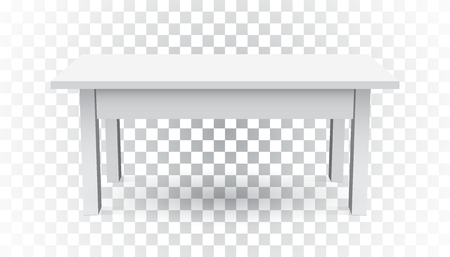 Vector 3d table for object presentation. Empty white top table on isolated background. Illusztráció