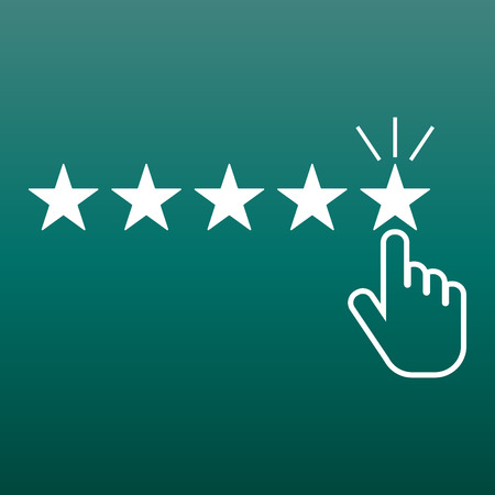 Customer reviews, rating, user feedback concept vector icon. Flat illustration on green background.