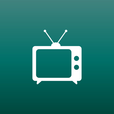 Tv Icon vector illustration in flat style on green background. Television symbol for web site design, logo, app, ui.