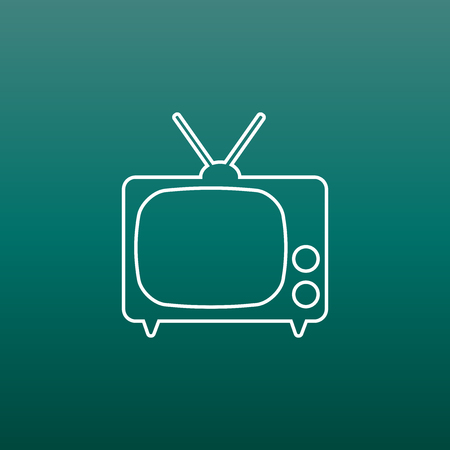 Tv Icon vector illustration in line style on green background. Television symbol for web site design, logo, app, ui. 版權商用圖片 - 76235012