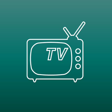 Tv Icon vector illustration in line style on green background. Television symbol for web site design, logo, app, ui.