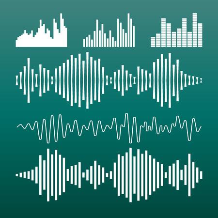 ベクトル サウンド波形アイコン。波の音と音楽のパルスはベクトル緑の背景イラストです。