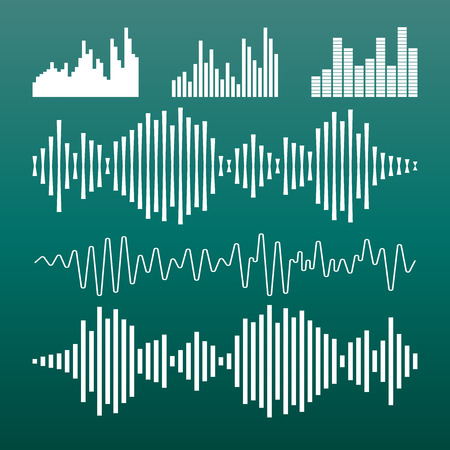 Vector sound waveforms icon. Sound waves and musical pulse vector illustration on green background. Illustration